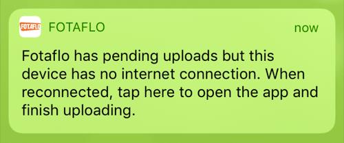 Fotaflo iOS 1.10 - pending uploads, no connection