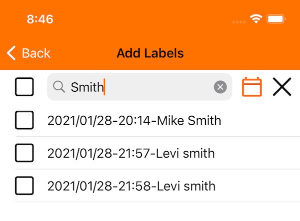 Fotaflo iOS 1.12 - label search