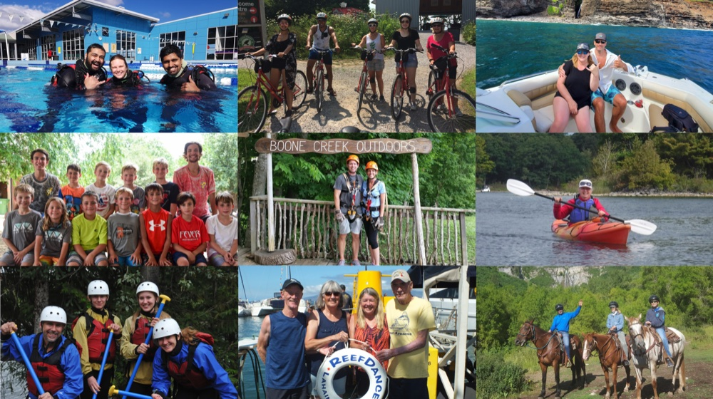 Collage showing various adventure activities