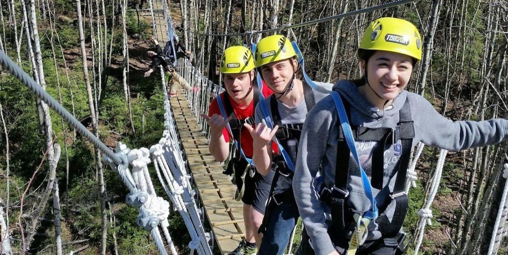 Youths on a suspension bridge
